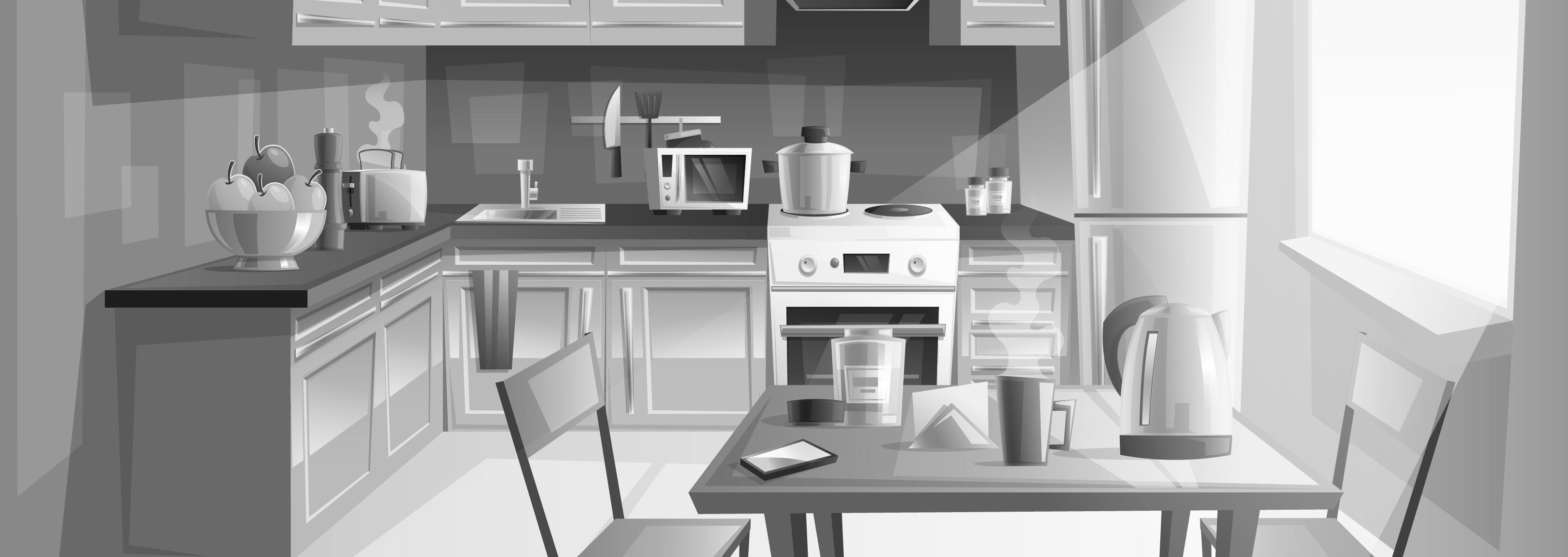 Lapsille -sivun taustakuva jossa näkyy piirretty keittiö