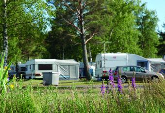 Asuntovaunuja ja autoja leirintäalueella.