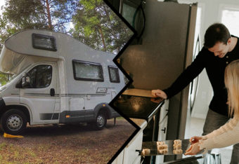 Jaettu kuva, jossa vasemmalla puolella matkailuauto ja oikealla puolella pariskunta laittaa uuniin syötävää.
