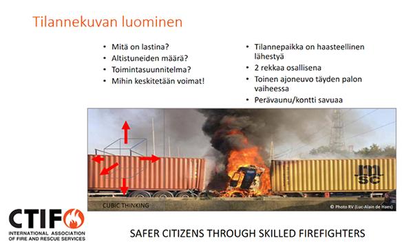 Esimerkki diasarjasta. Tilannekuvan luominen. Diassa kuva rekasta täyden palon vaiheessa.