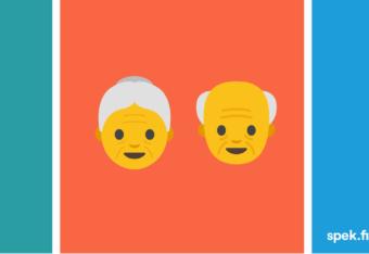 Kuvassa emojit liekki, vanha mies ja nainen sekä käsisammutin.