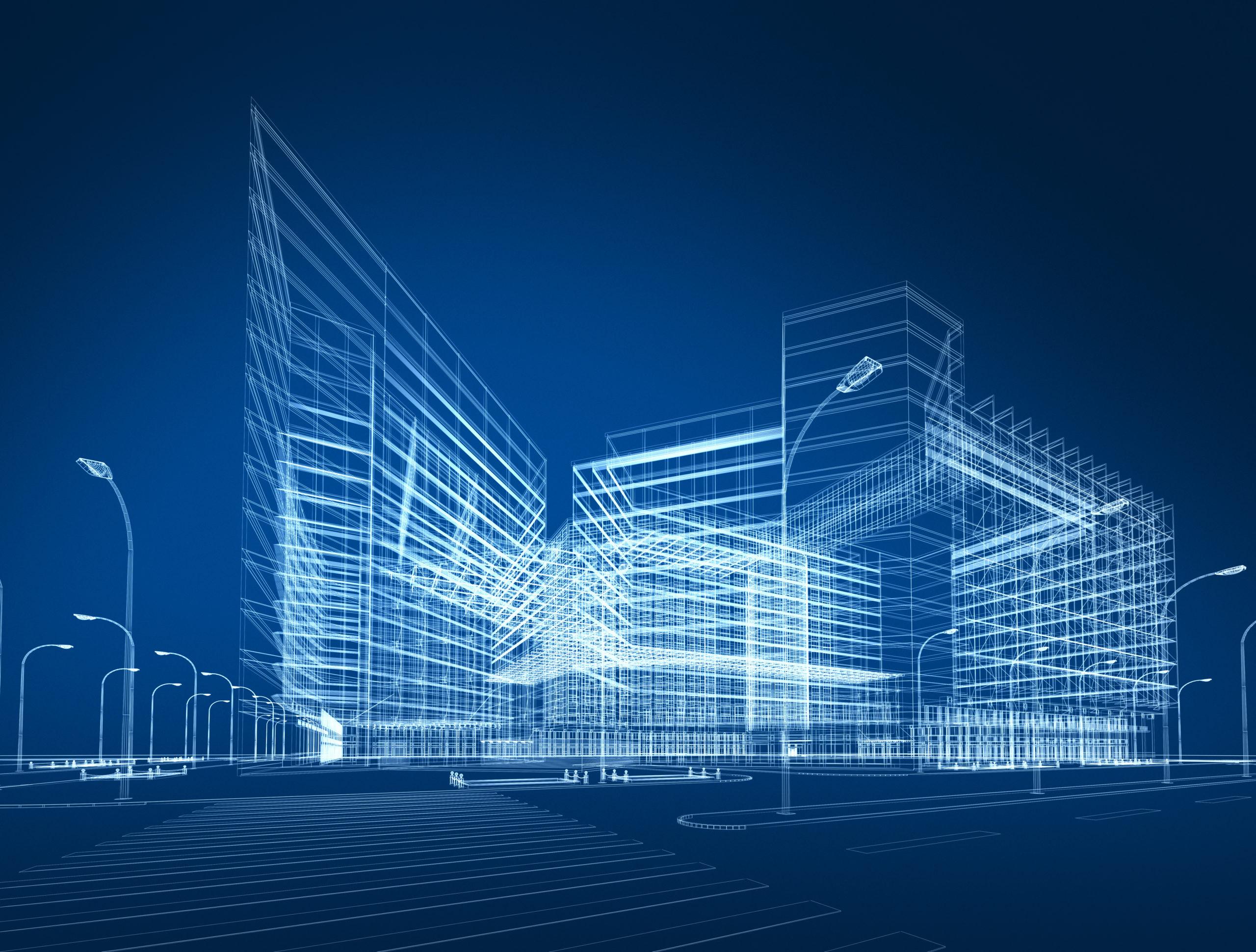 Kolmiulotteinen kuva suuresta rakennuksesta.