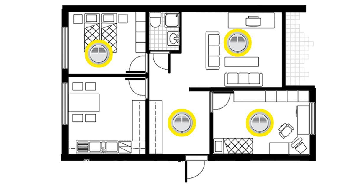 Asunnon pohjapiirros, jossa palovaroittimet on sijoitettu molempiin makuuhuoneisiin, eteiseen ja olohuoneeseen.
